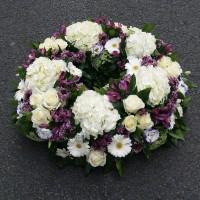 Couronne enterrement violette et blanche
