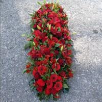 Dessus de cercueil funéraire rouge